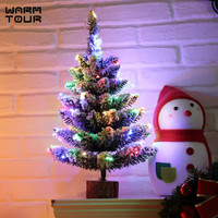 Warm Tour XMAS Gift 45CM High Table XMAS Tree Decoration Wood Fiber Optic Christmas Tree with Ornament for Christmas