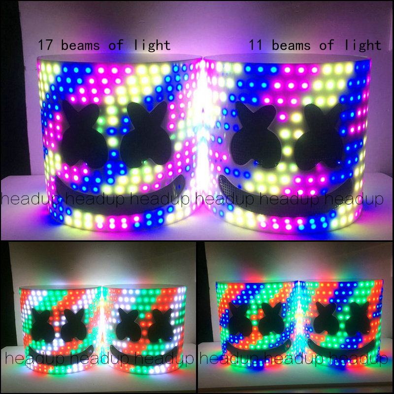 multicolour Colorful Free Transform Marshmello Helmet DJ Marshmello Mask Concert Props Future Bass Marshmello Prop Bars With LED