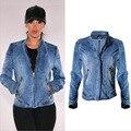 Estilo europeu mulheres puro algodão jaqueta jeans locomotiva modelo de todos os match moda sexy mais zíperes casaco gola elástica h67