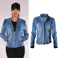 European style women pure cotton denim jacket locomotive model all match fashion sexy more zippers stand collar elastic coat H67