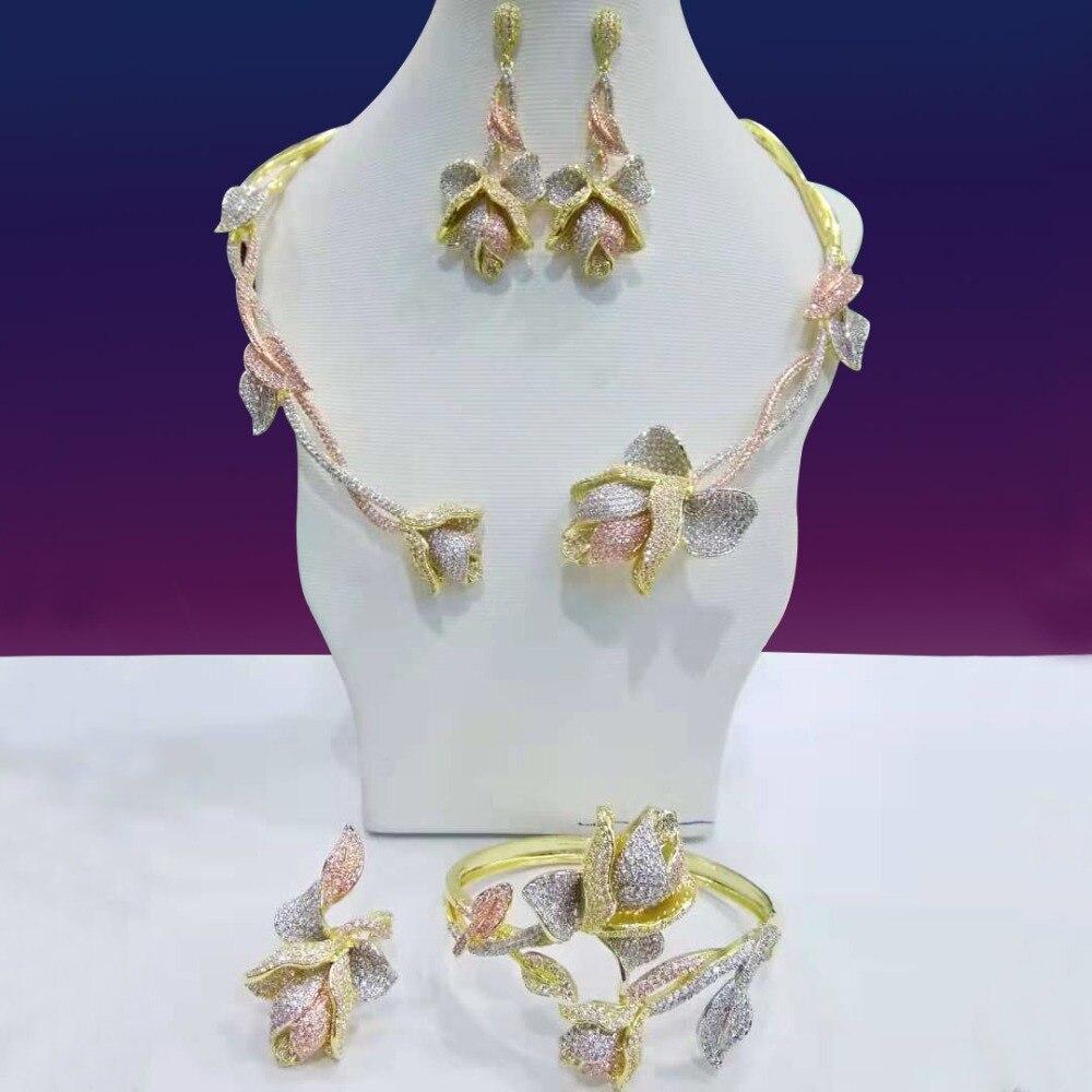 GODKI Nouveau À La Mode De Luxe Feuille Flowr Africain Collier Boucle D'oreille Ensemble de Bijoux Pour Les Femmes De Mariage Zircon CZ bijoux De Mariée Dubai ensemble