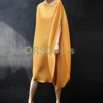 Changpleat 2019 summer New Women Loose dress Miyak Pleated Fashion Design Solid O-neck Large size irregular Female Dresses Tide