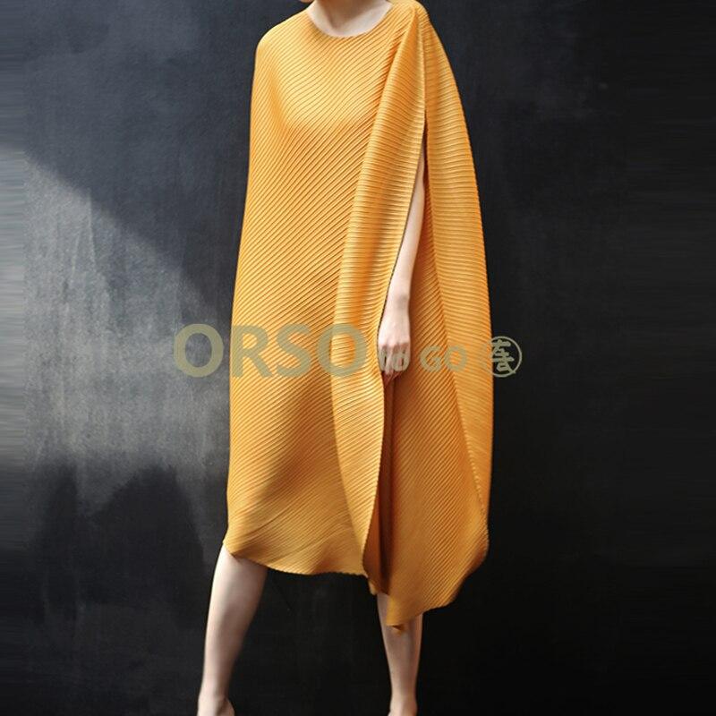 Changpleat 2019 été nouvelles femmes robe lâche Miyak plissée conception de mode solide o-cou grande taille irrégulière femmes robes marée
