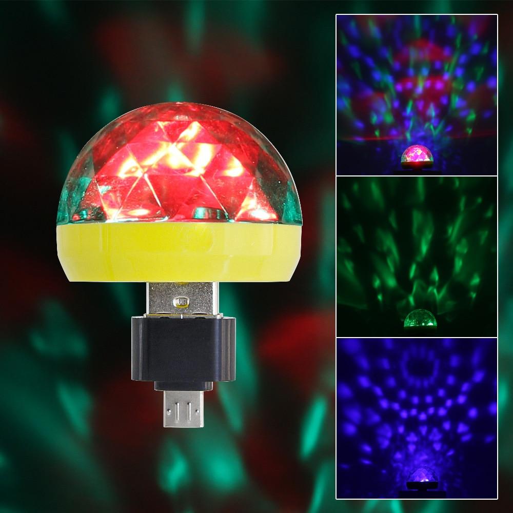 Valiente Micro Usb Mini Rgb Bombilla Led 4 W Luz De Escenario Control De Sonido Club Pub Discoteca Fiesta Música Cristal Bola Mágica Lámpara