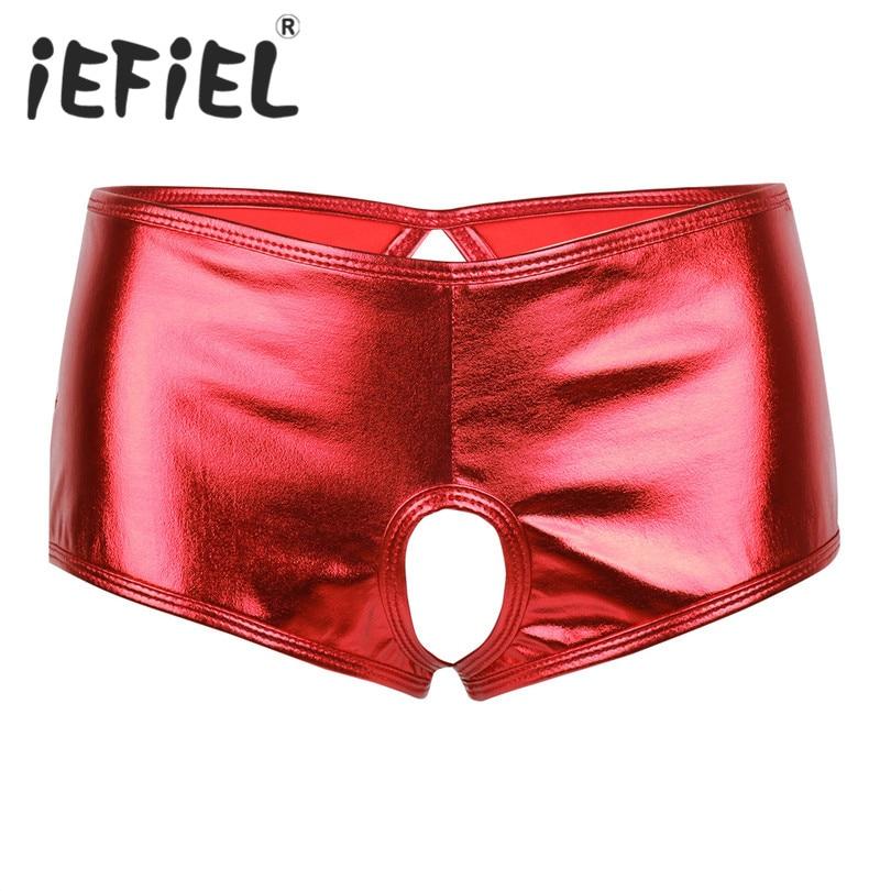 Buy iEFiEL Newest Fashion Wetlook Faux Leather Crotchless Bikini Brief Underwear Underpants Triangle Panties Shorts Nightwear