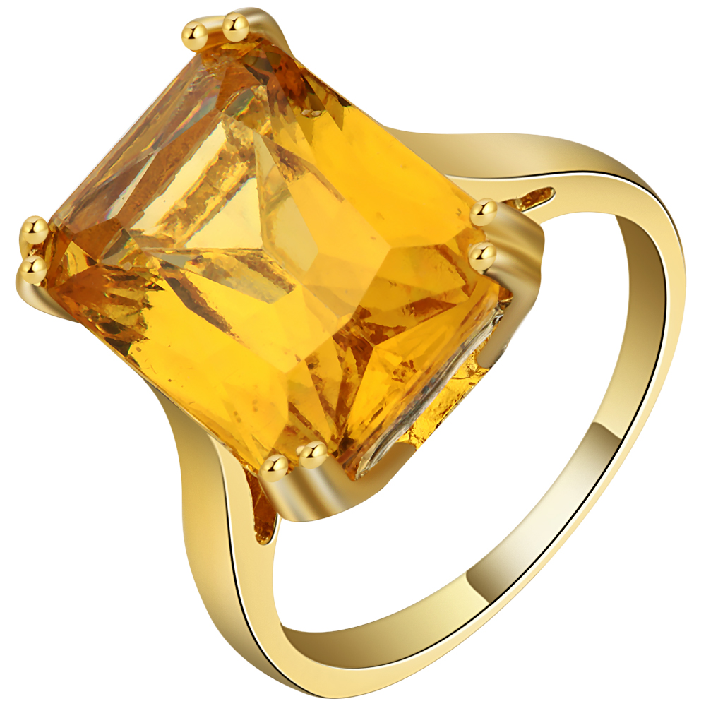 Bright Big Yellow Cubic Zirconia Square Design Ring Gold Color Exquisite  Custom Wedding Bands Finger Ring 767ed2faa535