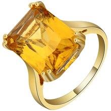 купить Light Big Yellow Cubic Zirconia Square Design Ring Gold Color Exquisite CZ Custom Wedding Bands Finger Ring Women Accessories дешево