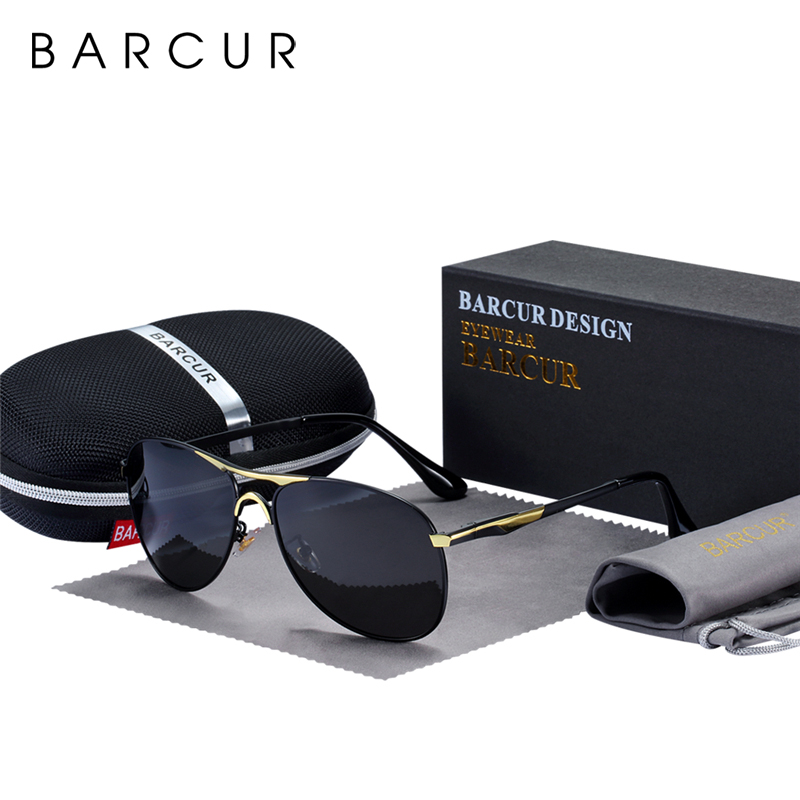 BARCUR High Quality Male Sunglasses Men Polarized Brand Design Sun Glasses Male Oculos Mens Sunglasses S8712 Brand Designer