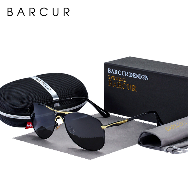 BARCUR High Quality Male Sunglasses Men Polarized Brand Design Sun Glasses Male Oculos Mens Sunglasses s8712 Brand designer