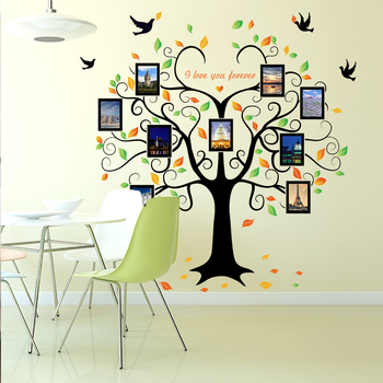 Large 240cm/ 80inch Family Tree Photo Frame Removable Wall Sticker Love Tree Bird Butterfly 1