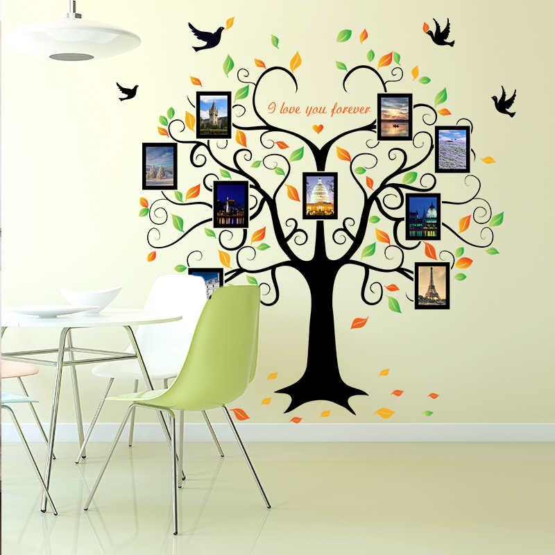 1 комплект большой 240 см/80 дюймов Семья рамка для фото в виде дерева Съемный Наклейка на стену любовь дерево любить тебя вечно Птица Бабочка Наклейка SK2010W