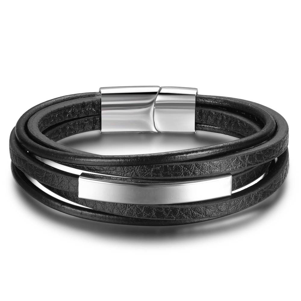 Men Jewelry Punk Black Geunine Leather Bracelet Stainless Steel Fashion Bangles cm