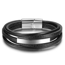 Bracelets & Bangles Stainless Steel Leather Bracelet Men Jewelry Punk Men Bracelet Black 22cm Charms Fashion Bangles(BA101879)