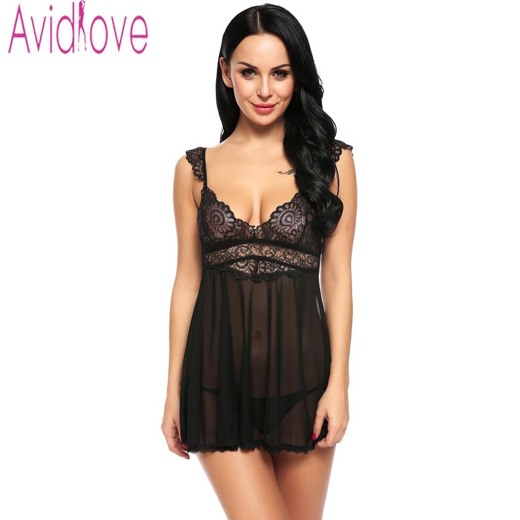 Avidlove Lace Patchwork Lingerie Babydoll Floral Sleepwear Deep V Neck Erotic Sleepwear Lady Sexy Costumes Night Dress Plus Size