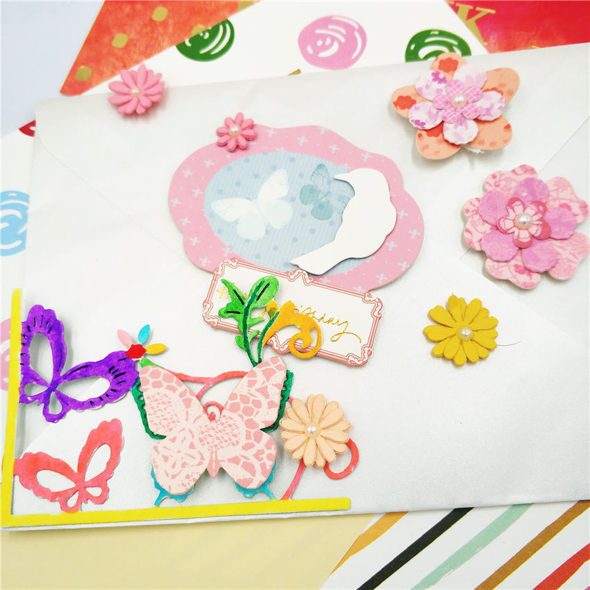 ZhuoAng Beautiful butterfly design cut openwork DIY clip art photo album decorative transparent sealing mold paper card