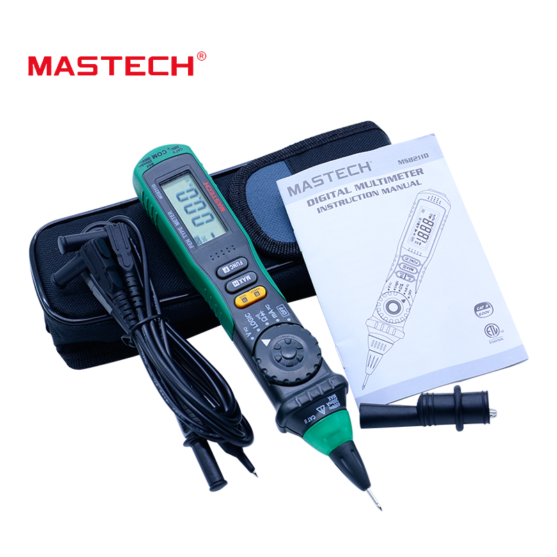 MASTECH MS8211D Auto Range Digital Multimeter Pen-Type Meter DMM Multitester Voltage Current Tester Logic Level Tester digital one touch operation pen type 0 99 9% range skin and facial face moisture analyzer tester