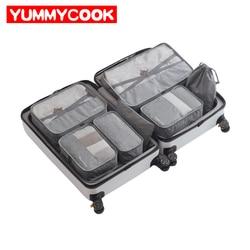 7 Pcs/Set Men Travel Bags Clothes Shoes Underwear Suitcase Organizer Cosmetics Zipper Bag Wardrobe Dufflel Luggage Accessories