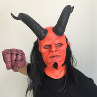 New Movie Hellboy mask Cosplay Rise of the Blood Mask Queen Ox Horn Mask Gloves Armor Latex Hand Gauntlet Halloween Party