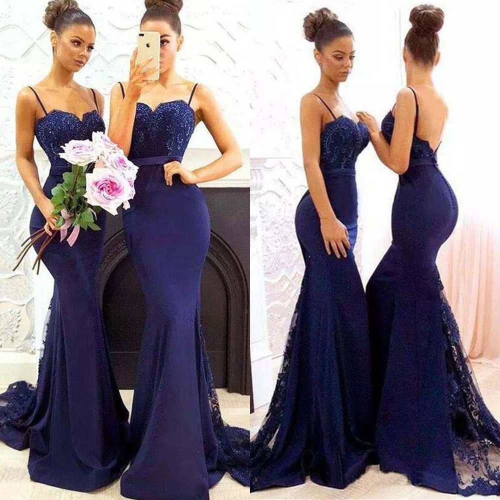Hot Selling Royal Blue Mermaid   Bridesmaid     Dresses   Sweetheart Spaghetti Strap Lace Elastic Satin Long Wedding Guest   Dress   Cheap