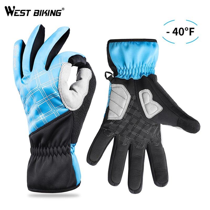 WEST BIKING Warm Ski Gloves Thermal Men Women Winter Snowboard Gloves Fleece Touch Screen Cycling Snow Waterproof Skiing Gloves