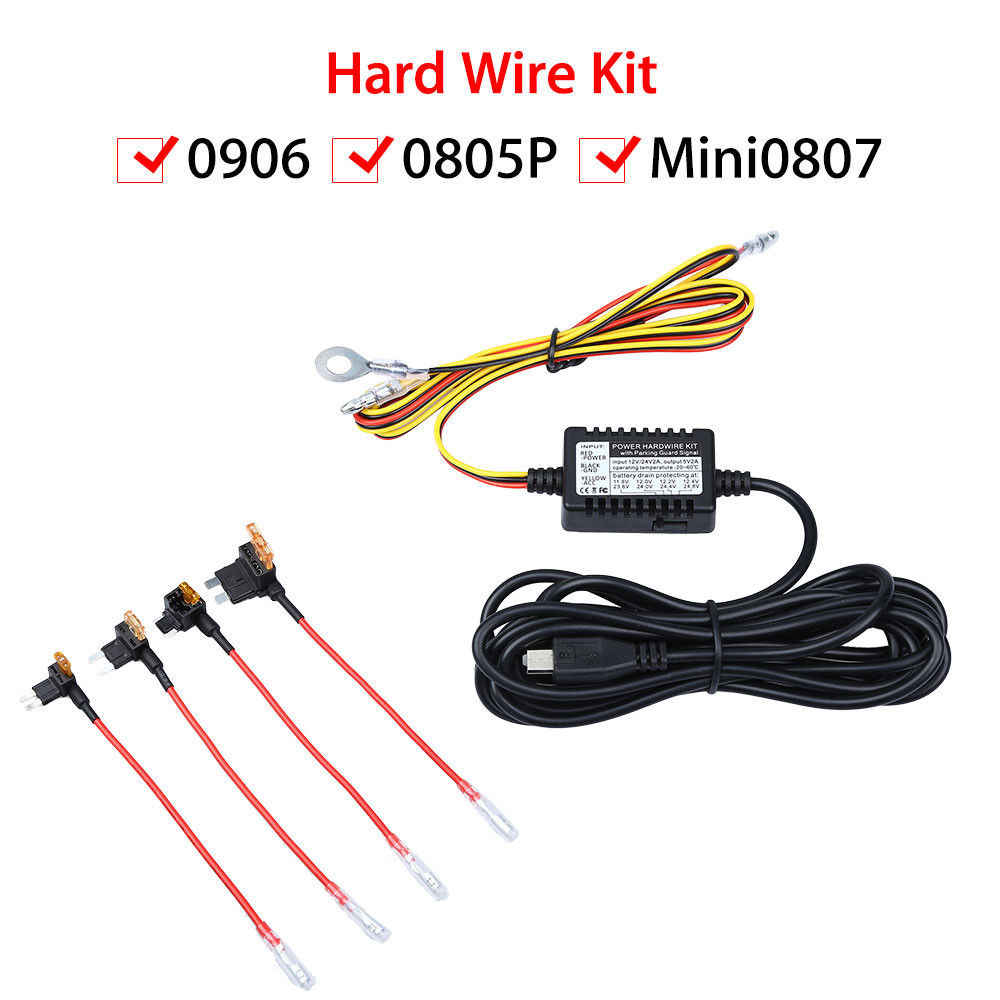 Universal Micro USB Hardwire Fuse Kit low voltage protection 12V to 5V Power Adapter Cable for Mini 0906 Dash camera for B1W