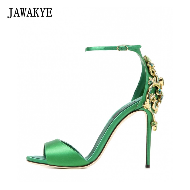 2017 New JAWAKYE Women Sandals Crystal Rhinestone High Heels Satin Pointy Toe Summer Shoes Ankle Buckle Strap Sandalias mujer new rhinestone women sandals ankle buckle strap fashion open toe comfortable chunky high heels red black shoes zapatos mujer