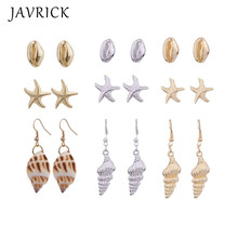 3 Pair Boho Natural Shell Conch Starfish Stud Earrings Kit Women Fashion Jewelry