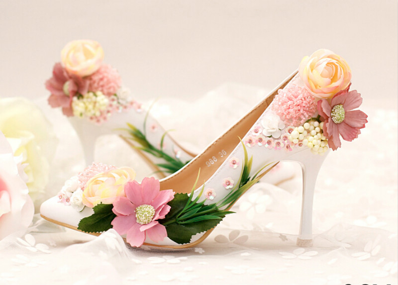 ФОТО Flowers and sequins bridal shoes High with fine with pointed dress shoes Shallow mouth shoes shoes banquet toast