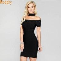 Woman Dress 2018 Winter Halter Sexy off shoulder mini vestido Sheath Evening Party Black Bandage Dress Wholesale D206
