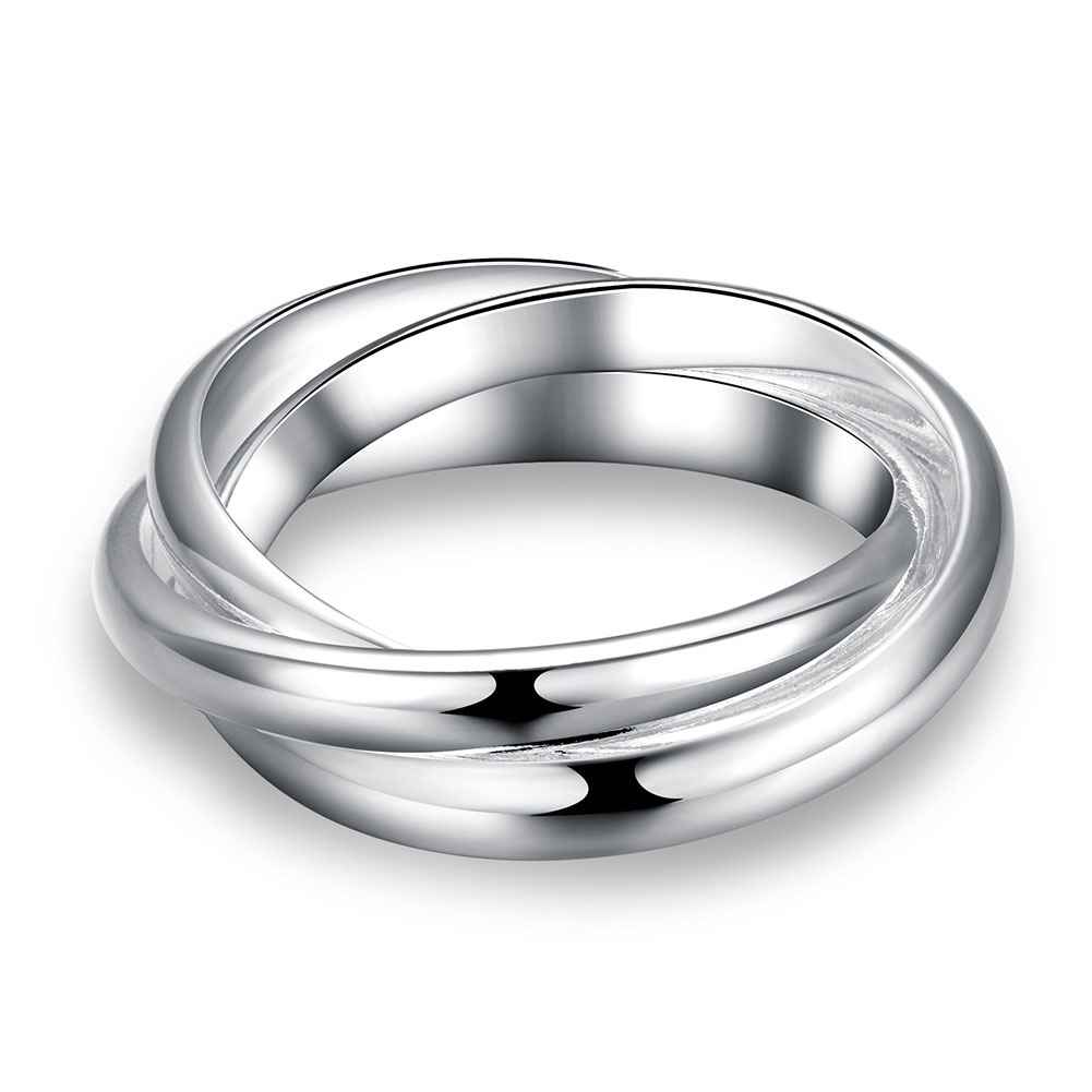 6d9d3313e08de Top quality women& men wedding rings Fashion 925 wholesale jewelry silver  plated Three Circles 6 7 8 ...