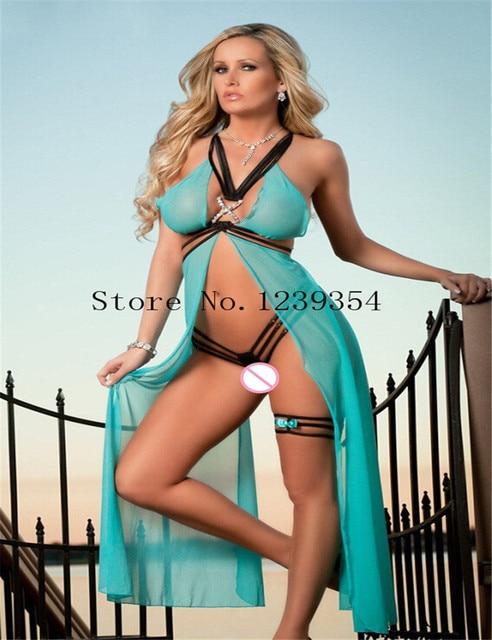 Exotic lingerie sexy costumes intimate sleepwear underwear gauze transparent chest split skirt Sexy Lingerie women slips sex toy