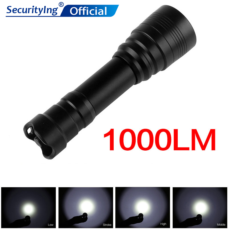 SecurityIng étanche haute puissance sous-marine plongée lumière 1000Lm poche plongée lampe torche à LED + 18650 batterie + chargeur