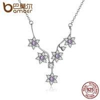BAMOER Fashion 925 Sterling Silver Flowers Purple Necklace For Women Fine Jewelry PSN012