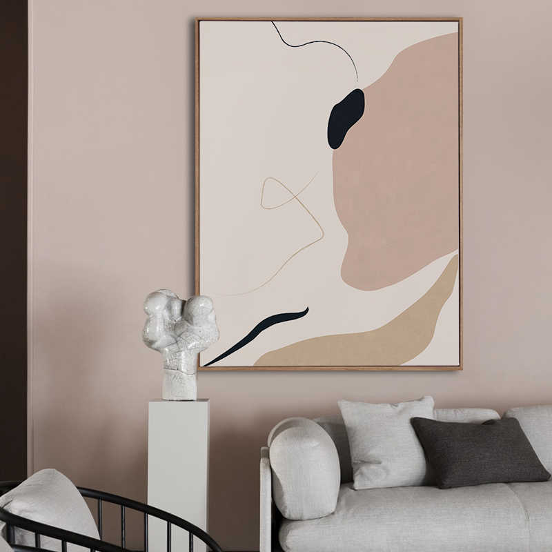 Buzart Abstract Poster Modern Minimalist Wall Art Canvas Paintings for Living Room Pink Prints Ins Home Decor No Frame