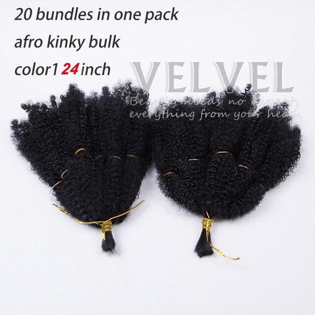 """1PC+ Premium Afro Kinky Bulk Beauty Collection 24"""" Color1B Synthetic Hair Braids Bulk Hair For Braiding Marley Braid Hair"""