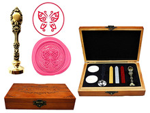 Butterfly Insect Vintage Custom Luxury Wax Seal Sealing Stamp Brass Peacock Metal Handle Sticks Melting Spoon Wood Gift Box Set