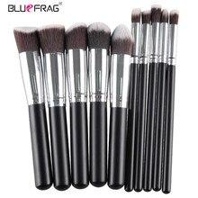 Bluefrag pro pincéis de maquiagem ferramentas de maquiagem pinceis de madeira de metal paleta de maquiagem escova de cabelo sintético 10 pçs/set blmb09212