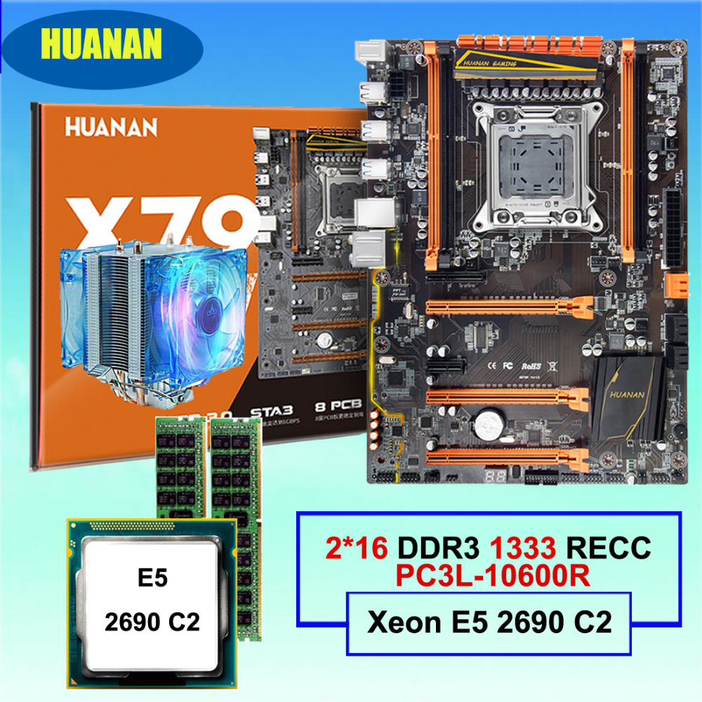 Best seller HUANAN deluxe X79 LGA2011 gaming motherboard set Xeon E5 2690 C2 with CPU cooler RAM 32G(2*16G) DDR3 1333MHz RECC цена 2017
