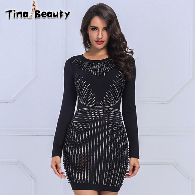 Tina Beauty Diamonds Chic Black Dress Lady Long Sleeve O-Neck Studded Bodycon  Dress Women Celebrity Party Dress Wholesale 7c8de7b94