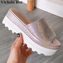 Vichelo/Лидер продаж; туфли без шнуровки с украшением из блестящих кристаллов; женские босоножки на высокой танкетке с открытым круглым носком; повседневная обувь; L30