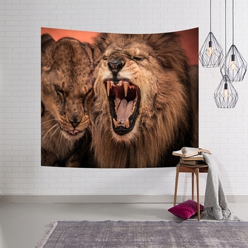 Power Africa Lion Couples Pattern Wall Hanging Tapestry Beach Towel Mandala Home Decor Table Cloth Bedspread Yoga Mat Blanket couples blanket