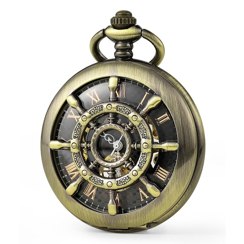 Mens Watches Top Fashion Antique Bronze Nautical Pattern Hollow Men's Mechanical Pocket Watch Men Gift Watch Free Shipping C451