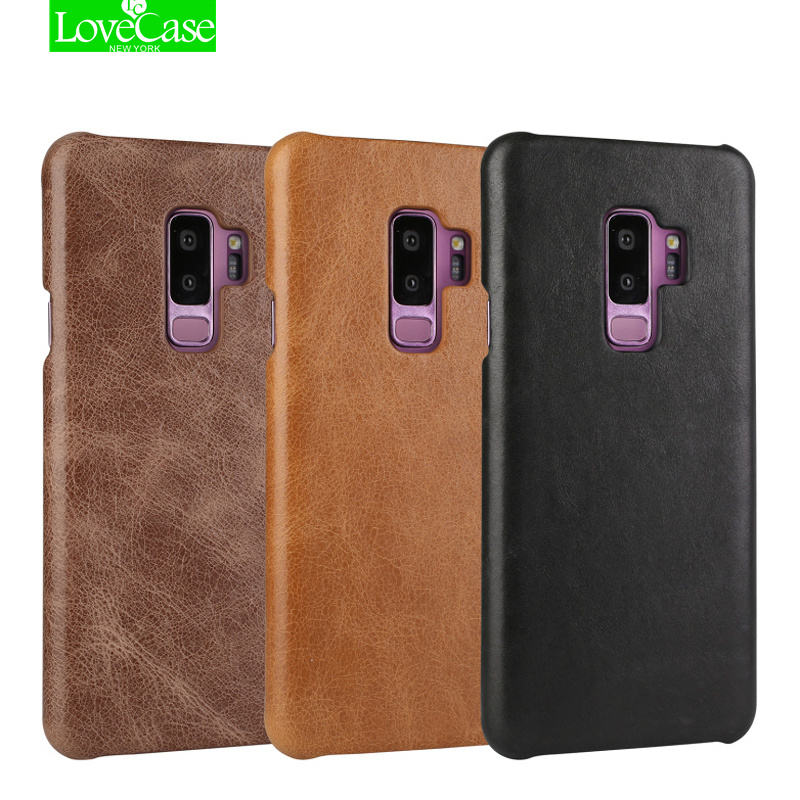 LoveCase Hot Sale S9 Plus Ultrathin Genuine Leather Hard Back Cover For Samsung Galaxy S9/S9 Plus Luxury Leather Phones Case