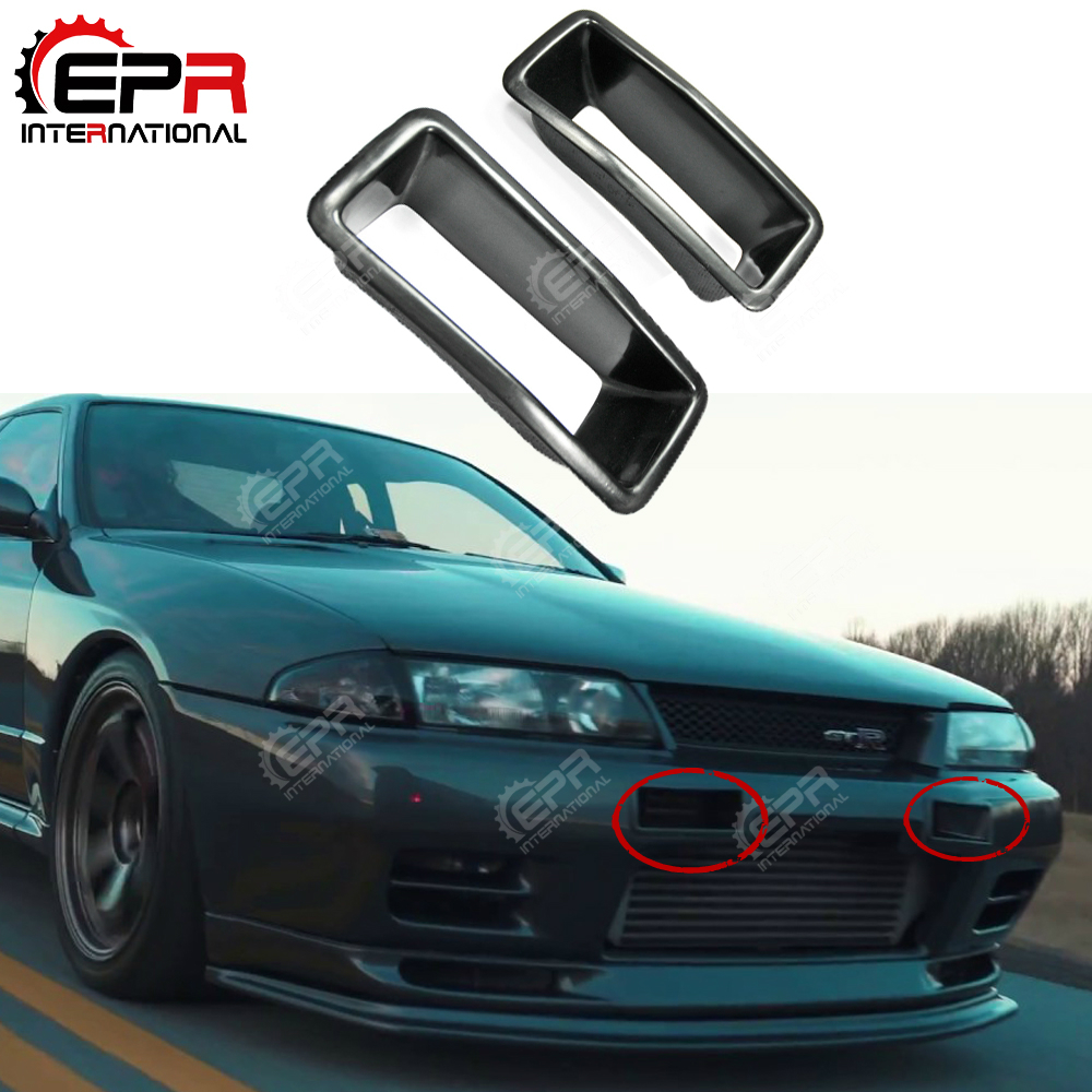 For Nissan Skyline R32 GTR GTS FRP Glass Fiber Front Bumper Air Ducts Vents Inserts Cold Air Intake Cover For Nissan R32 GTR GTS