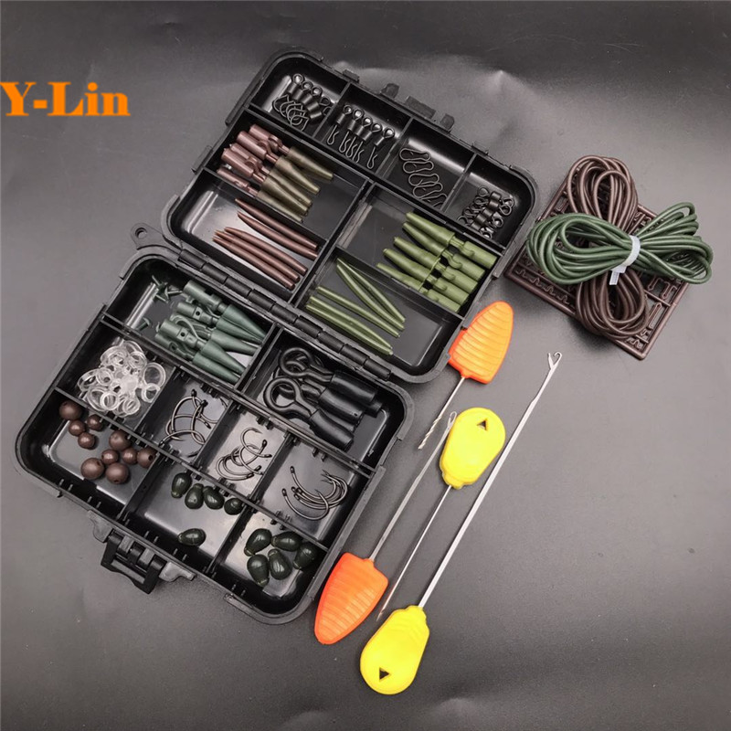 Carp fishing Tackle box bait bend PE TEFLON hooks sleeves clip quick change beads swivels lead core silicone tube hair extender portable 2 layers many compartments visible pvc fishing lure bait hooks fish tackle box accessory storage box case fishing tool