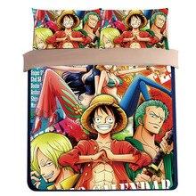 NEW anime One Piece 3D Cartoon Bedding Sets blue Boys designer king queen full twin size kids duvet covet sheet set pillowcase