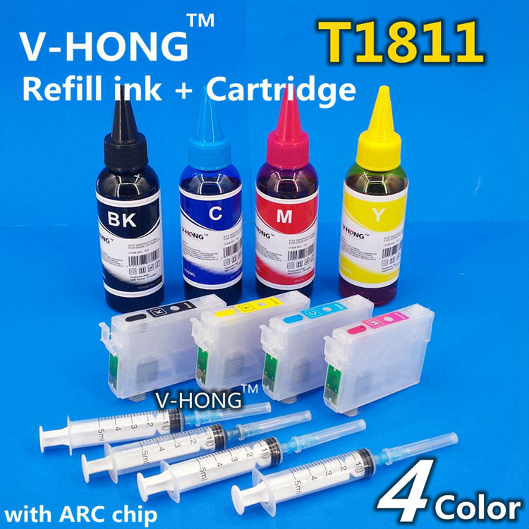 XP-102 Ink Cartridges T1811 T1812 T1813 T1814ARC chip for XP-202 XP-205 XP-30 XP-302 XP-305 XP402 XP405 XP215 XP-312 XP-415 EUR t2971 t2962 t2964 refillable ink cartridges for epson xp231 xp431 xp 231 xp 431 xp 241 inkjet printer cartridge with chips
