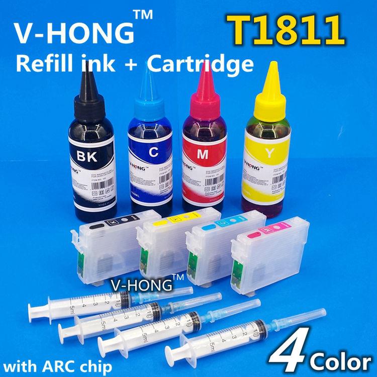 XP-102 Ink Cartridges T1811 T1812 T1813 T1814ARC chip for XP-202 XP-205 XP-30 XP-302 XP-305 XP402 XP405 XP215 XP-312 XP-415 EUR 100ml bottle t1801 t1804 sublimation ink for epson xp 30 xp 102 xp 202 xp 205 xp 302 xp 305 xp 402 xp 405 xp 215 xp 312 xp 415