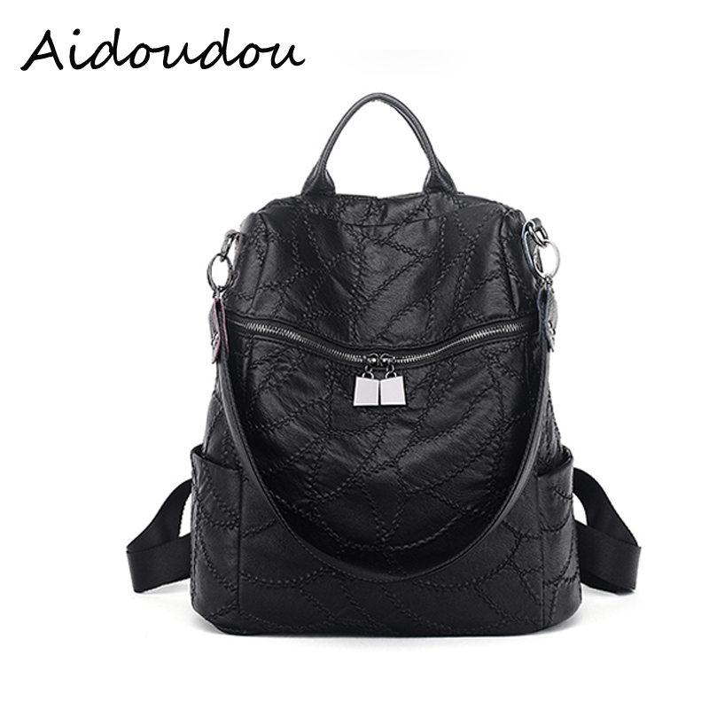women shoulder bag 2017 Solft Leather Women Backpack Woman Korean Ladies Strap Laptop Bag Daily Backpack
