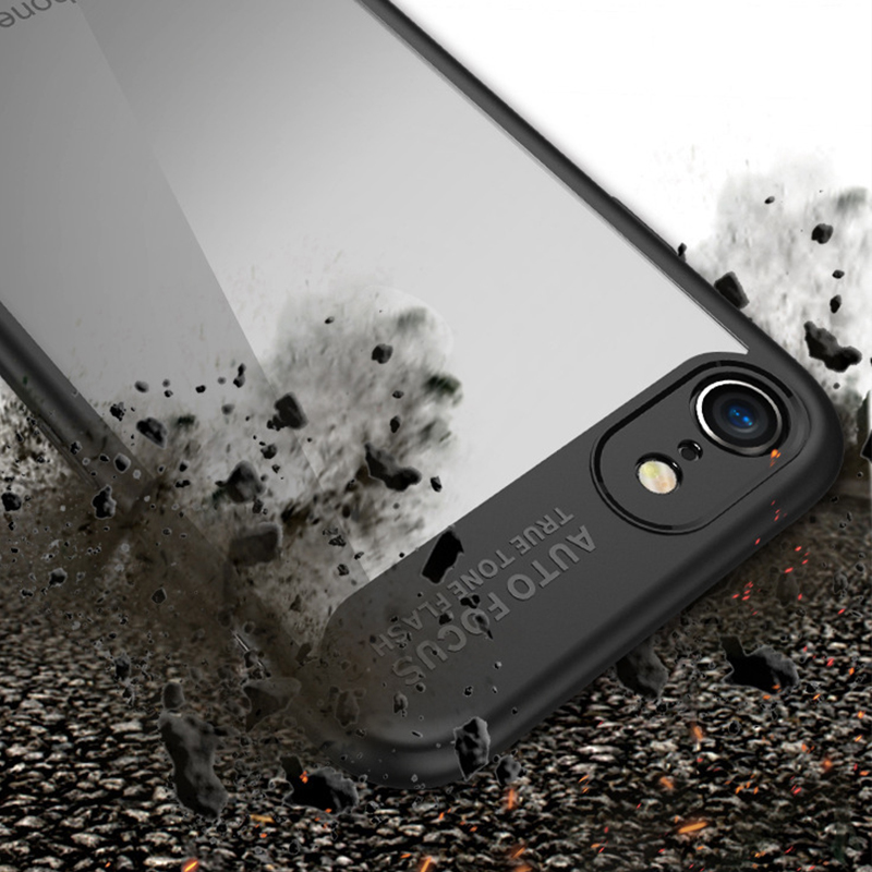Shockproof Hybrid PC+TPU Mobile Phone Cover for iPhone 8 Plus Case Transparent clear back soft silicone Bumper for iPhone8 funda